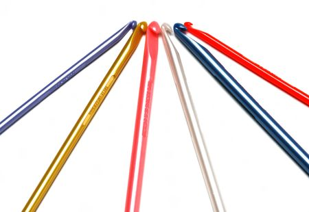 Radiating pattern of colorful crochet hooks