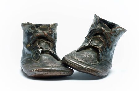Pair of bronzed baby shoes