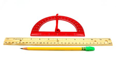 Red protractor, wooden ruler, and pencil with green eraser