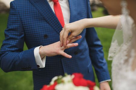 bride and groom put on the finger a wedding ring