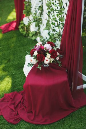 Beautiful wedding ceremony in the Park in the color of Marsala Stock fotó