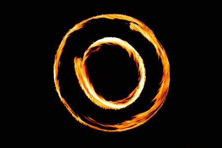 Fire Show Fiery Motion. Night Performance Abstract Drawing.