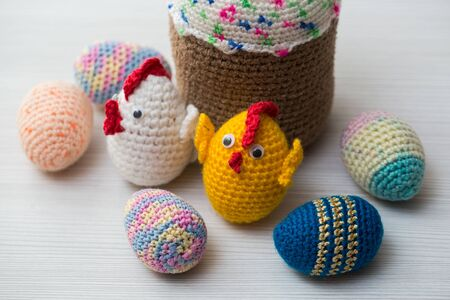 Knitted Easter eggs and symbols. Handmade items.