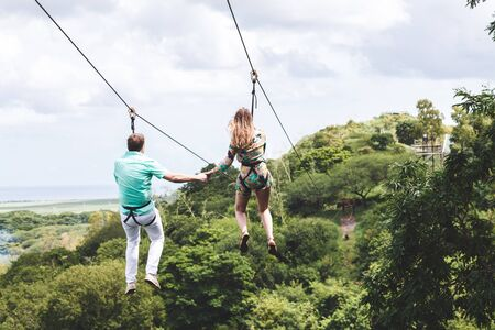 postal code of the island of Mauritius. Guy and girl in the air