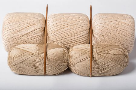 Woolen threads with spokes for knitting isolated on white background Archivio Fotografico