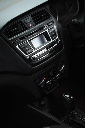 Interior view of car with black interior through the glass Zdjęcie Seryjne