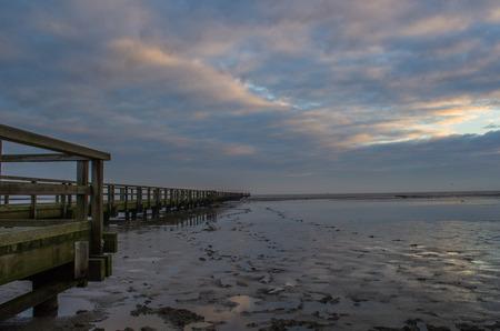 german north sea region: Pier in Burhave Stock Photo