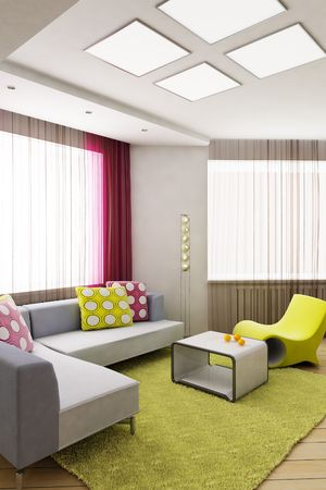 eclecticism:  3D rendering of the modern interior