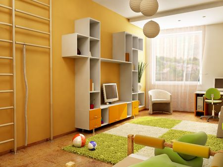 bed room: 3d interior of the childrens room Stock Photo