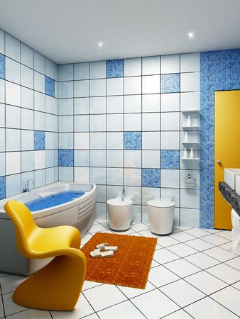 eclecticism: 3d rendering of the modern bathroom interior