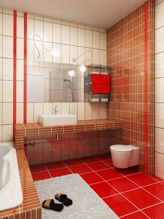 eclecticism: 3d rendering of the modern bathroom Stock Photo