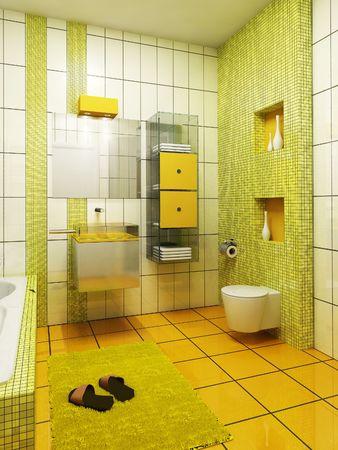 render residence: 3d rendering of the modern bathroom Stock Photo