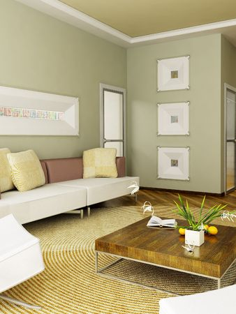 The computer generated 3D image of the modern interior Stock Photo - 846179