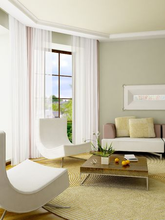 The computer generated 3D image of the modern interior Stock Photo - 846178
