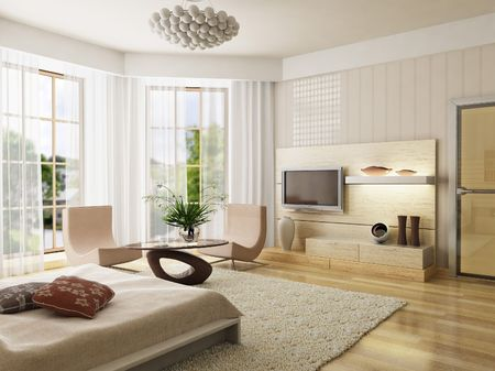 3d rendering of the modern bedroom photo
