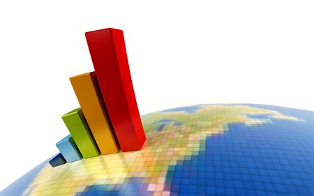 financial stability: 3d rendering of the growth chart on symbolic Earth image Stock Photo
