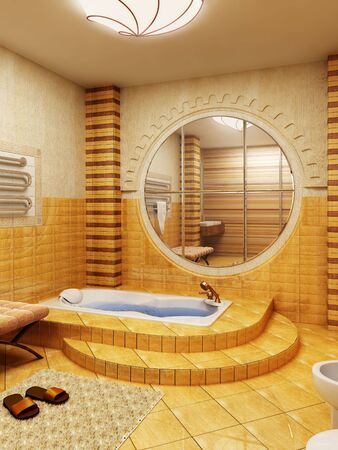 modern interior: 3d rendering of the bathroom interior in Moroccos style Stock Photo