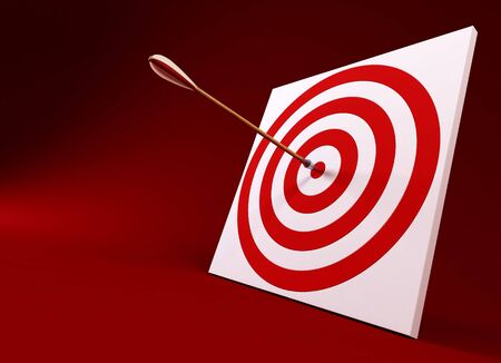 intention: 3d rendering of the arrow and target Stock Photo