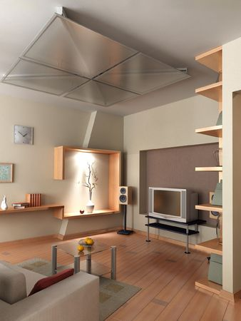 The computer generated 3D image of the modern interior Stock Photo - 850348
