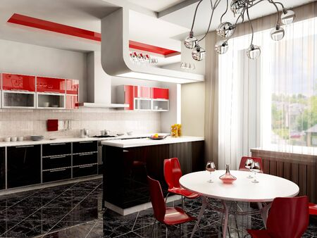 eclecticism: 3d rendering of the kitchen interior in pop-art style