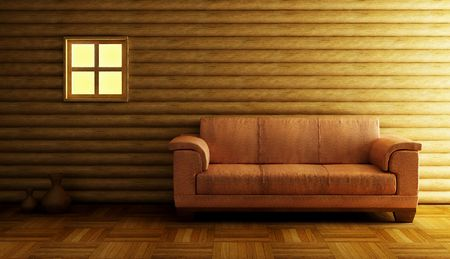 beside: modern couch beside log wall