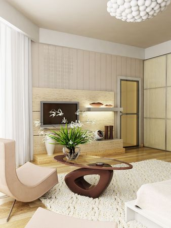 eclecticism: 3d rendering of the modern bedroom