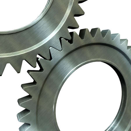 gearings: The pair of the associated steel gears Stock Photo