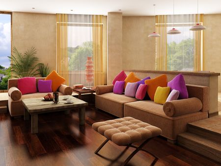 visualisation: 3d rendering of the  interior in Moroccos style
