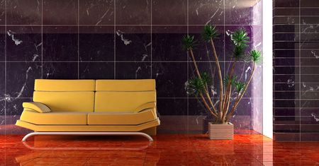 3d interior in dark blue colour with modern couch Stock Photo - 850232