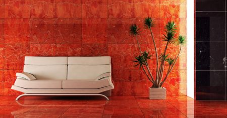 3d interior in red colour with modern couch  Stock Photo - 850233