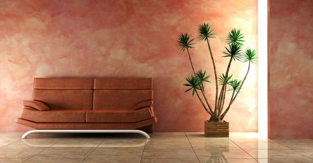 3d inter in pink colour with modern couch Stock Photo - 850234