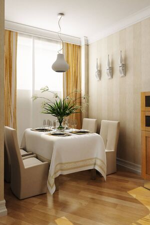 visualisation: 3d rendering of the dining room interior Stock Photo