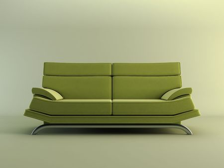 settee: modern couch on light green background