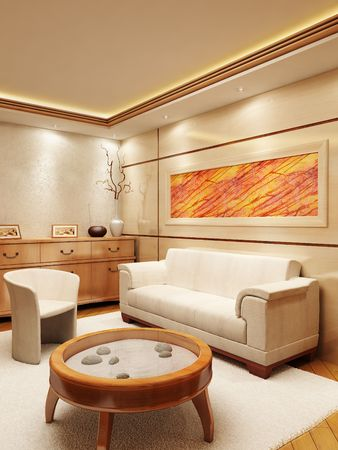 visualisation: 3d rendering of the lounge room in yacht style