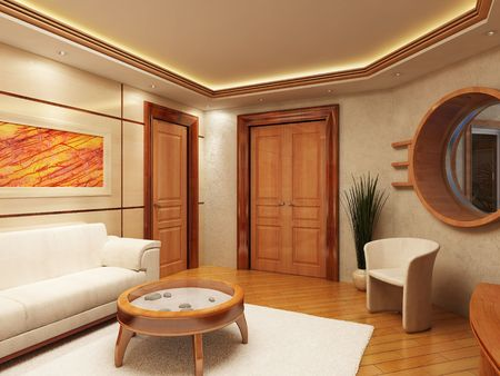 3d rendering of the lounge room in yacht style Stock Photo - 850319