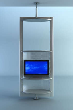 3d rendering plasma TV into the room photo