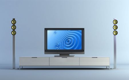 tft: 3d rendering of the Home theatre