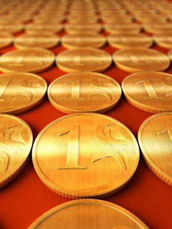 resplendence: 3d rendering of the golden coins Stock Photo