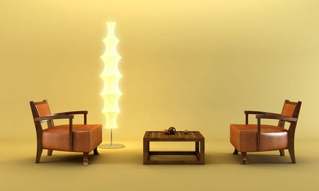 3d rendering of the asian lounge room photo
