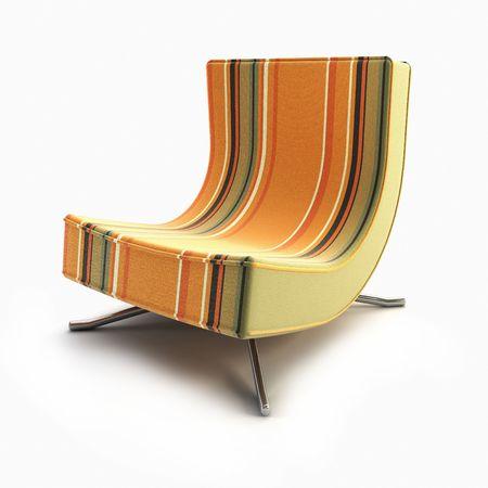 pop-art armchair 3d rendering on white background