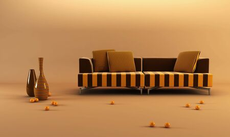 settee: 3d rendering scene with stylish striped couch