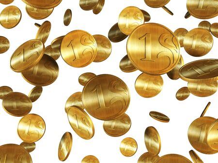 gorgeousness: 3d rendering of the golden coins  Stock Photo