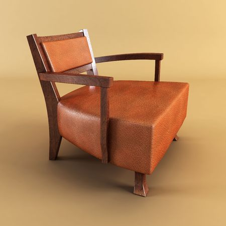 elbowchair: classic asian armchair 3d rendering Stock Photo