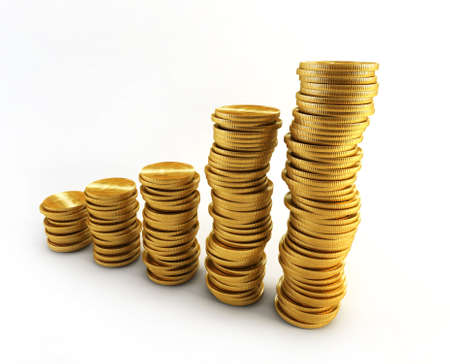 richness: 3d rendering of the chart from golden coins Stock Photo