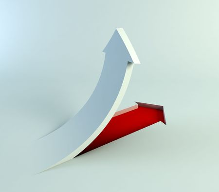 incremental: 3d rendering of the rising arrow Stock Photo