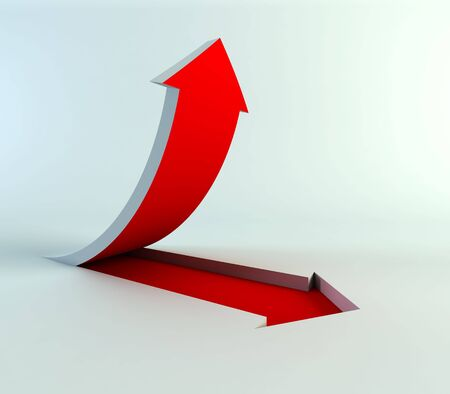 3d rendering of the rising arrow Stock Photo