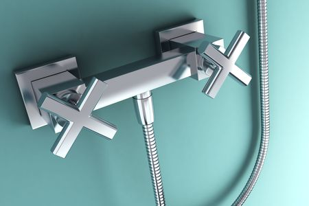 coolness: 3d rendering of the modern stainless steel tap Stock Photo