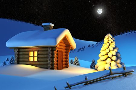 christmas house and fir-tree in snow-drift mountain landscape photo