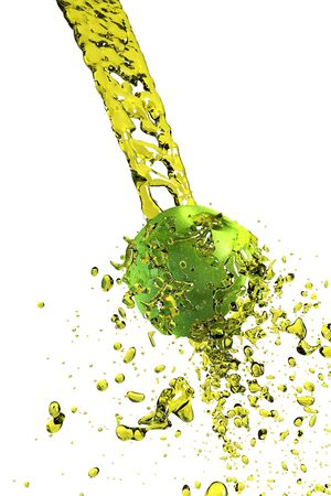the apple under the juice splashes 3d rendering photo