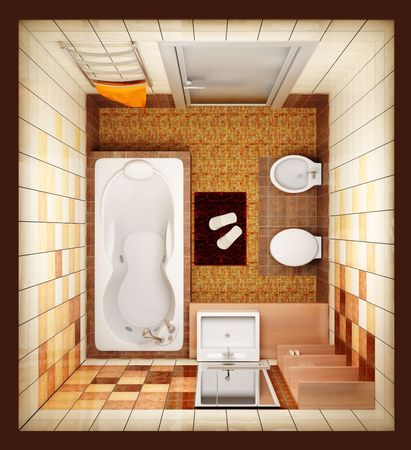 visualisation: 3d rendering of the modern bathroom from top view